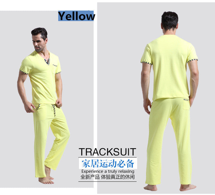 WJ Men Cotton Pajamas Set Sleepwear Bottoms Long Pant Casual Wear Short-Sleeved Shirt Leisure Suit (for a Suits)