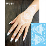 #WL-41 Beautiful White Henna Temporary Tattoo Hand Decoration Sticker for daily makeup or bridal decor