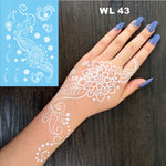 #WL-43 Pure Mandala Flower White Henna Temporary Tattoo Hand Decoration Sticker for daily makeup or bridal decor