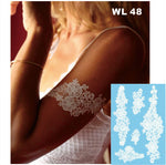#WL-48 Lace White Henna Temporary Tattoo Hand Decoration Sticker for wedding body decor
