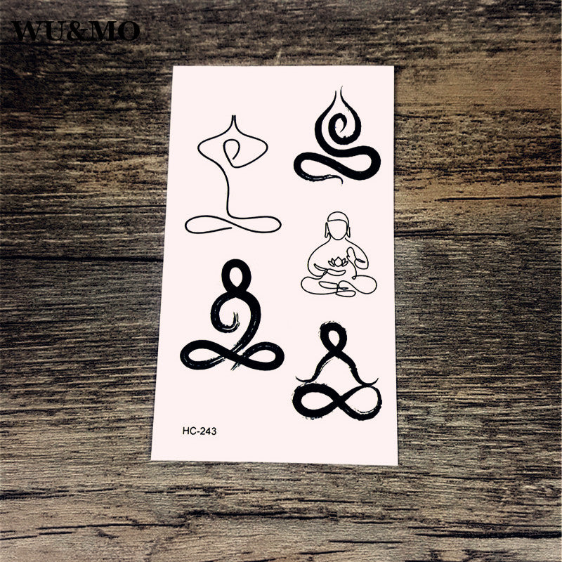 WU&MO HC-243 Yoga Lady Body Art Sexy Harajuku Waterproof Temporary Tattoo For Man Woman Henna Fake Flash Tattoo Stickers