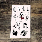 WU&MO HC-245 Music Note Body Art Sexy Harajuku Waterproof Temporary Tattoo For Man Woman Henna Fake Flash Tattoo Stickers