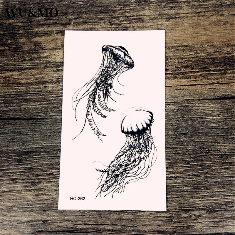 WU&MO Jellyfish Pattern Body Art Sexy Harajuku Waterproof Temporary Tattoo For Man Woman Henna Fake Flash Tattoo Stickers NEW