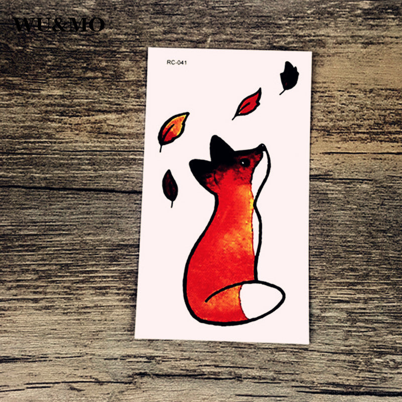 WU&MO Little Fox Leaves Body Art Sexy Harajuku Waterproof Temporary Tattoo For Man Woman Henna Fake Flash Tattoo Stickers NEW