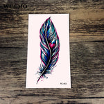 WU&MO NEW Feather Heart Body Art Sexy Harajuku Waterproof Temporary Tattoo For Man Woman Henna Fake Flash Tattoo Stickers RC-453
