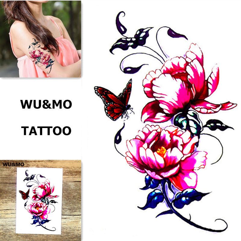 WU&MO New Arrival Colorful Flower Fake Flash Sexy Body Art Temporary Tattoo Stickers For Man Woman 150x105mm
