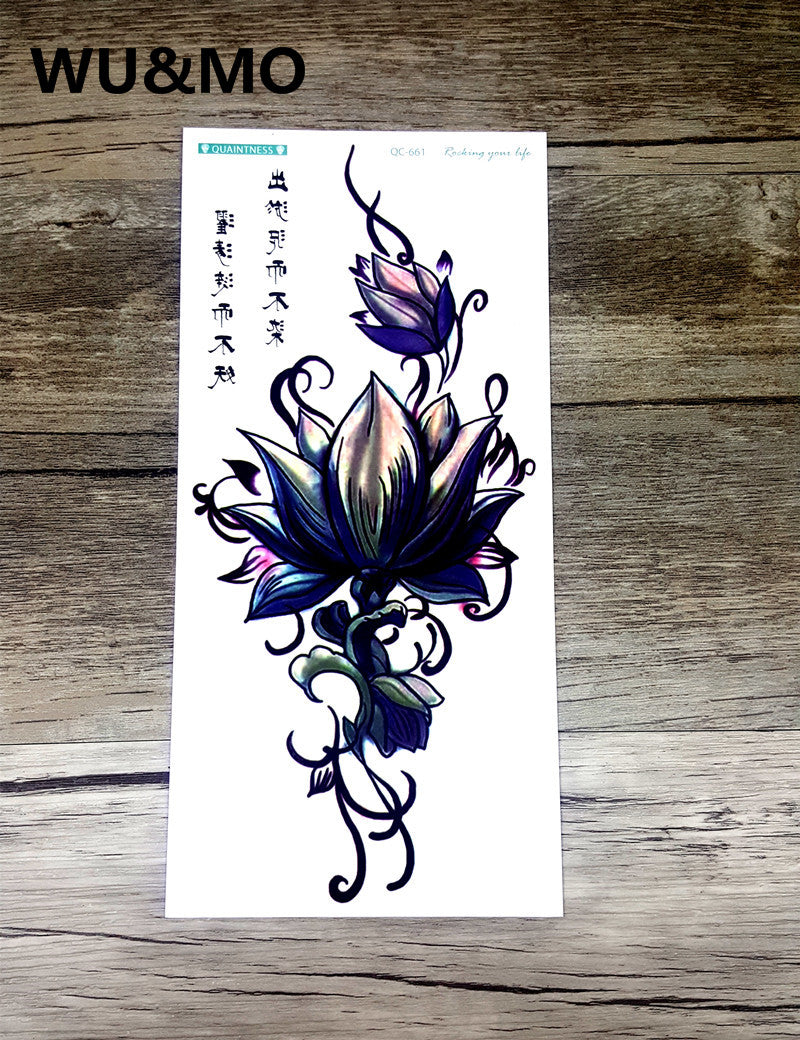 WU&MO QC661 20X10cm Long Colorful High Solution Sex Products Flowers Lotus Circle Designer Temporary Flash Tatoo Sticker Taty