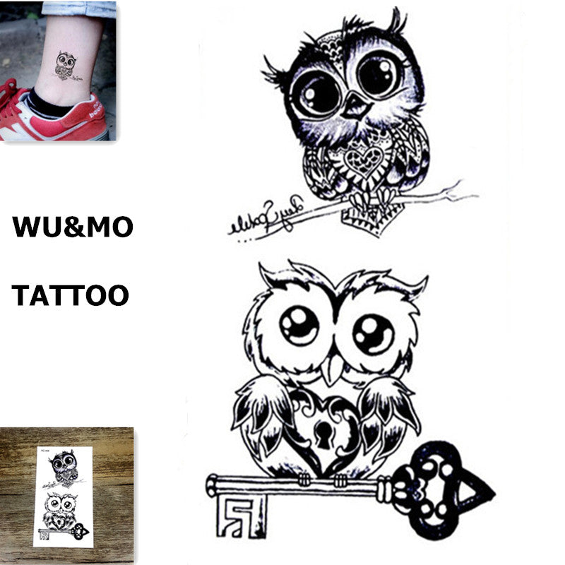 WU&MO RC-458 Owl Body Art Sexy Harajuku Waterproof Temporary Tattoo For Man Woman Henna Fake Flash Tattoo Stickers NEW