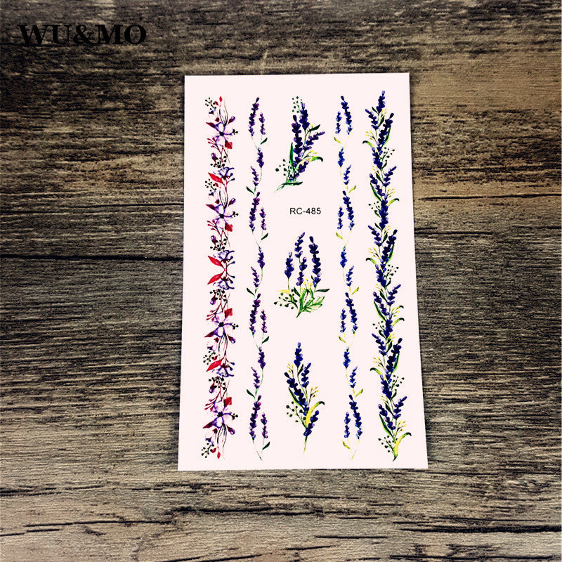 WU&MO RC-485 Flowers Body Art Sexy Harajuku Waterproof Temporary Tattoo For Man Woman Henna Fake Flash Tattoo Stickers