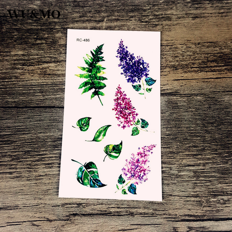 WU&MO RC-486 Flowers Body Art Sexy Harajuku Waterproof Temporary Tattoo For Man Woman Henna Fake Flash Tattoo Stickers