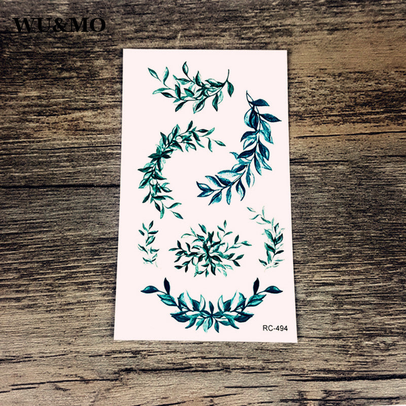 WU&MO RC-494 Flowers Leaves Body Art Sexy Harajuku Waterproof Temporary Tattoo For Man Woman Henna Fake Flash Tattoo Stickers