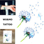 WU&MO SC-553 New Arrival Fake Flash Colorful Flower Dandelion Women Sexy Body Art Temporary Tattoo Stickers