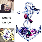 WU&MO SC-889 New Arrival Anchor Birds Fake Flash Sexy Body Art Temporary Tattoo Stickers For Man Woman