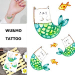 WU&MO SC-894 New Arrival Cat Head Fat Fish Fake Flash Sexy Body Art Temporary Tattoo Stickers For Man Woman