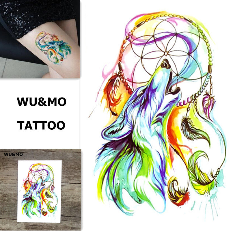 WU&MO SC-895 New Arrival Colorful Dreamcatcher Wolf Fake Flash Sexy Body Art Temporary Tattoo Stickers For Man Woman 150x105mm
