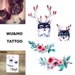 WU&MO SC-965 New Arrival Colorful Flower Cat Fake Flash Sexy Body Art Temporary Tattoo Stickers For Man Woman