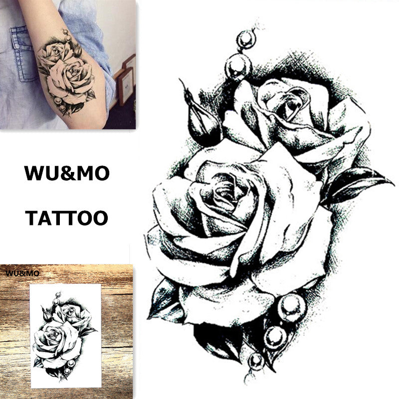WU&MO SC-969 New Arrival Flower Rose Fake Flash Sexy Body Art Temporary Tattoo Stickers For Man Woman