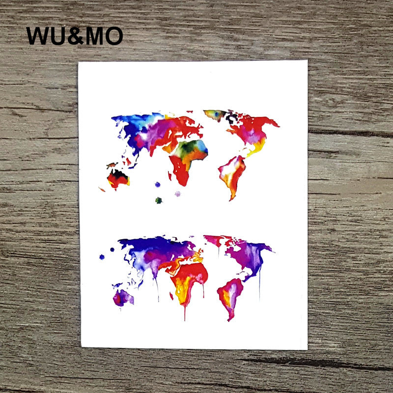 WU&MO World Map Body Art Sexy 8x8cm Waterproof Temporary Tattoo For Man Woman Henna Fake Flash Tattoo Stickers WM-253