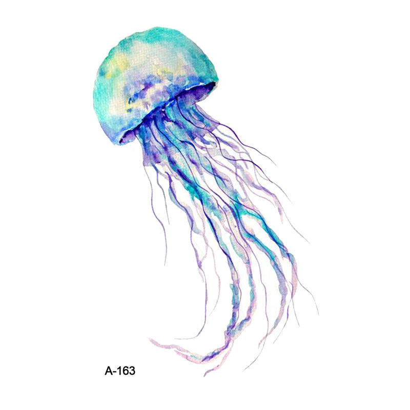 WYUEN Colorful Jellyfish Fake Tattoo Sticker for Adults Bule Temporary Women Arm Tatoo Stickers Men Body Art Tattoos A-163