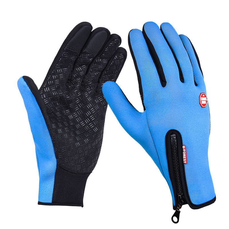Waterproof Touch Screen Outdoor Sports Windstopper Cycling Gloves Black Bicycle Motorcycle Long Finger Plus Size Mens Women Red
