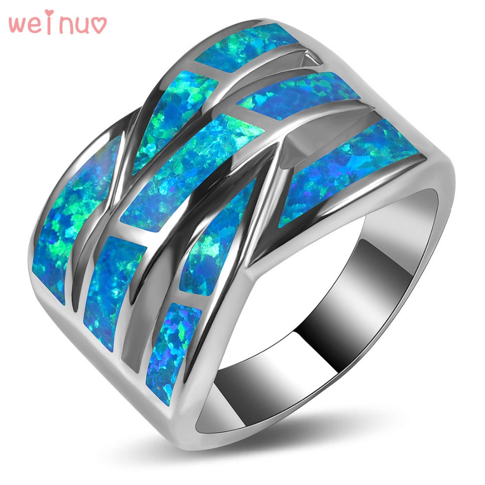 Weinuo Blue Fire Opal Ring 925 Sterling Silver Top Quality Fancy Jewelry Wedding Ring Size 5 6 7 8 9 10 11 A313