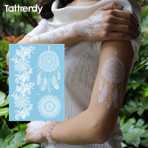 9a44ab91dd11 White Tattoo Lace Flower Waterproof Temporary Tattoos Fake Flash Henna Paste  dreamcatcher Choker Indian Hand Face