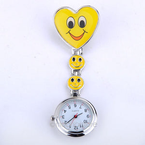 Wholesale Heart Shape Cartoon Smile Face Nurse Watch Clip On Fob Brooch Quartz Hanging Pocket Watch Fobwatch