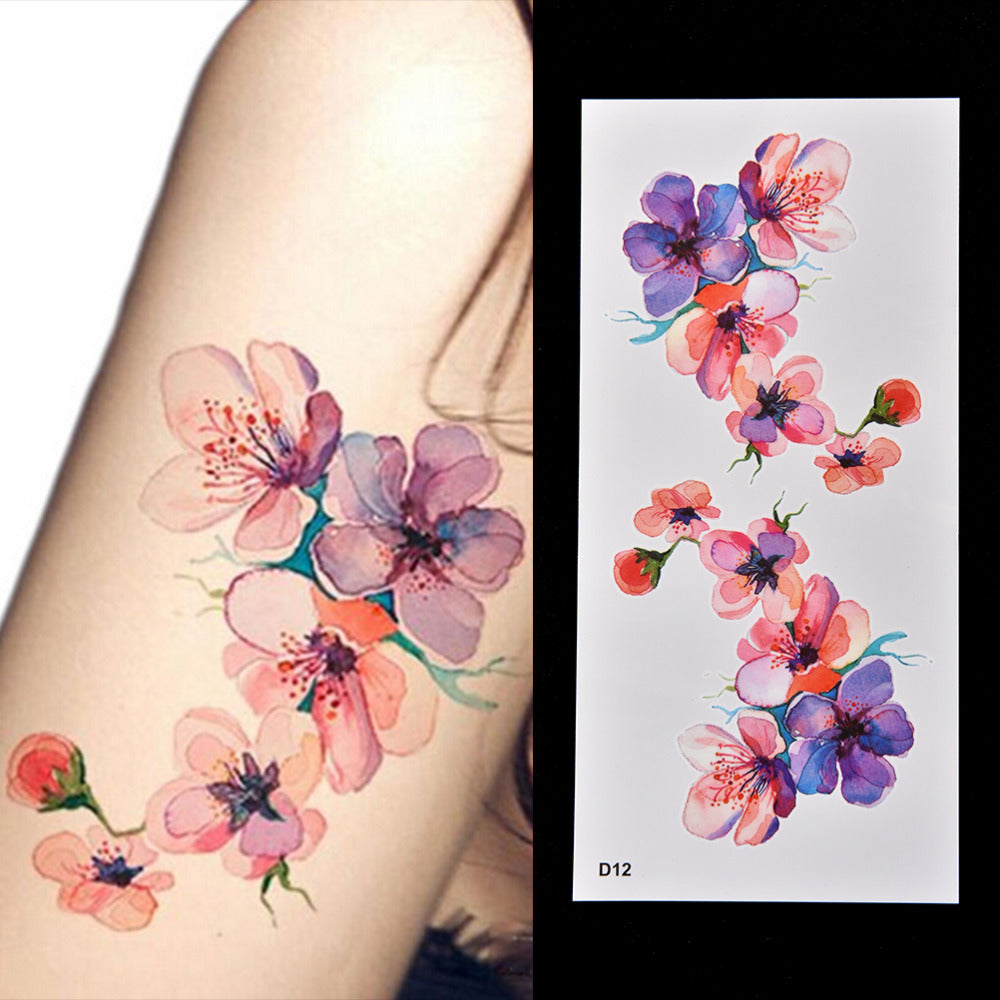 Wholesale High Quality DIY Watercolor Orchid Arm Temporary Tattoo Sticker Waterproof Temporary Fake Tattoo Sticker For Women