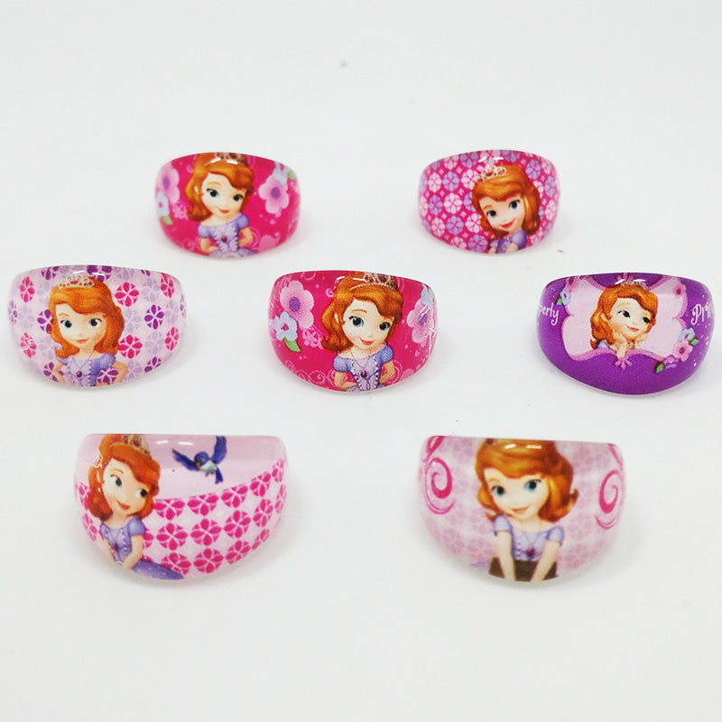 Wholesale Jewelry Lots 50pcs Cute Lovely Princess Sofia Childrens Kids Ring 3 Shape Christmas Birthday gift Clothing Accessories