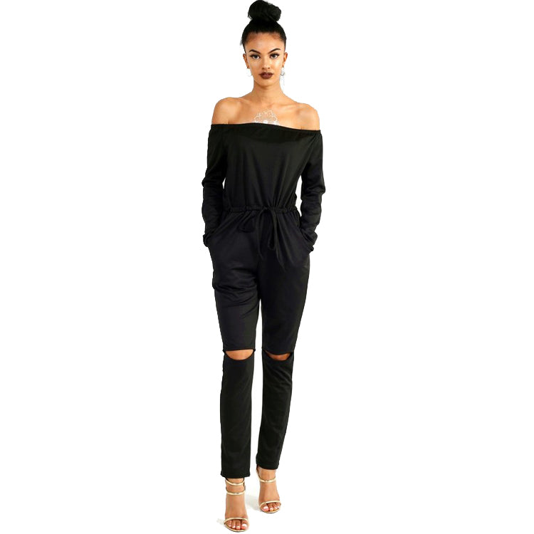 Women Elegant Solid Color Fresh Sexy Slash Neck Elastic Waist Long Sleeve Autumn Winter Casual Loose Jumpsuit Rompers