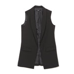 Women Fashion elegant office lady pocket coat sleeveless vests jacket outwear casual brand WaistCoat colete feminino MJ73