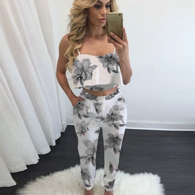 Womens 2016 Summer Sexy Spaghetti Strap Ruffles Crop Top 2 Pieces Elegant Jumpsuit Casual Slim Jumpsuit Romper Bodysuit