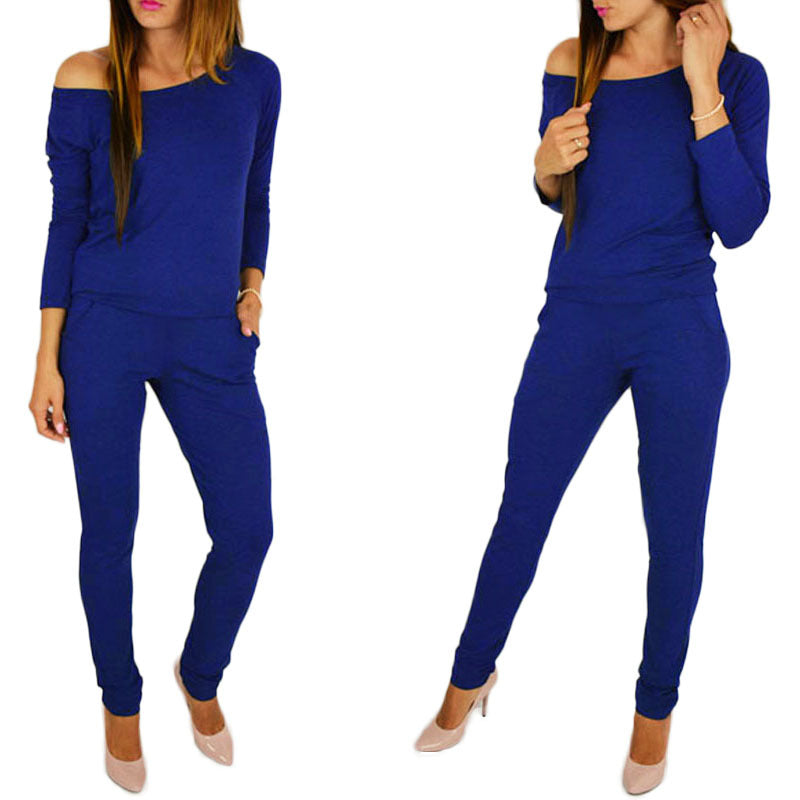 Womens Sexy Stretchy Jumpsuit Overalls Long Sleeve Casual Rompers Summer Off Shoulder Jumpsuits Playsuit Bodysuit YF254