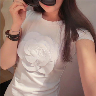 Wonderfulland women summer 3d camellia embroidery luxury T-shirt ladies fashion tops slim casual tee shirts vetement femal