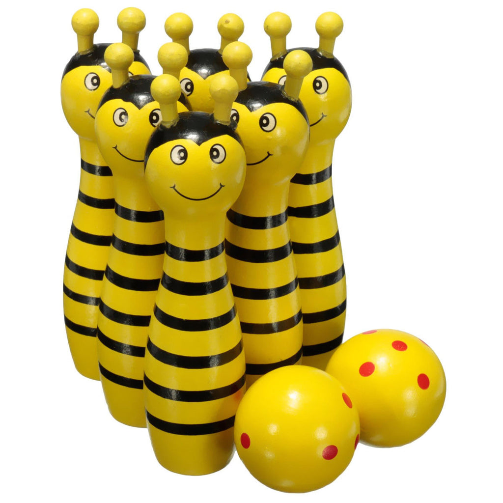 Wooden Bowling Ball Skittle Animal Shape Game For Kids Children Toy Yellow