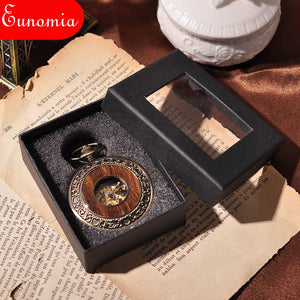 Wooden Men Pocket Watch Cool Luxury Lover Gift Chain Mechanical Hand Winding Bronze Watch Skeleton Steampunk Men Watch