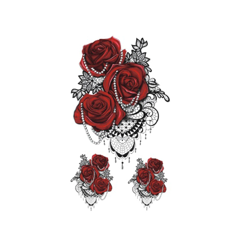 Wyuen 2017 New Hot Waterproof Temporary Tattoo Stickers for Women Tattoo Body Art Red Rose P-058 Fake Tatoo 10.5X6CM