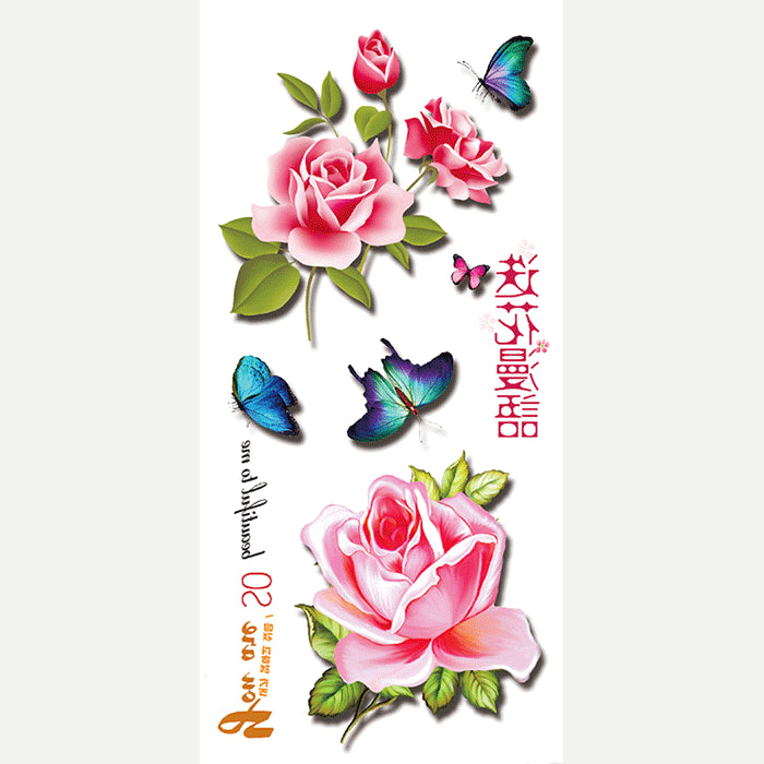 Wyuen 3D Flower Butterfly Women Temporary Tattoo Stickers Large Hand Fake Tatoo 2017 New Designs 3D-02