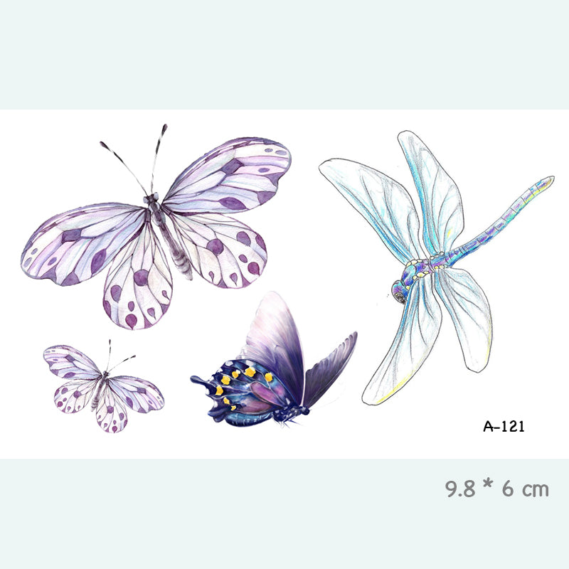 Wyuen Butterfly Dragonfly Waterproof Temporary Tattoo Sticker for Adults Kids Body Art Fake Tatoo for Women Men Tattoo A-121