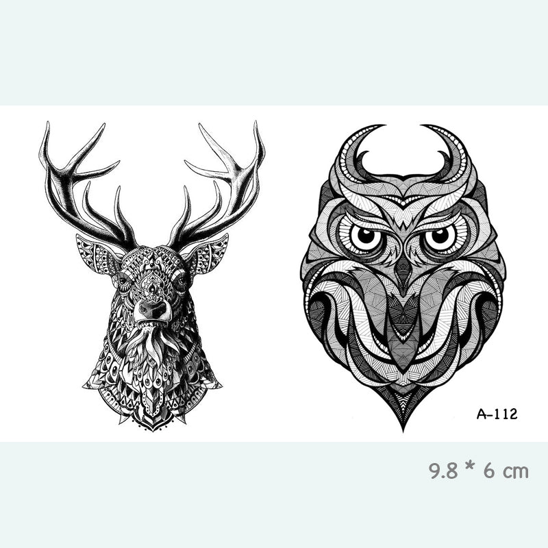 Wyuen Deer Owl Waterproof Temporary Tattoo Stickers for Adults Kids Body Art Fake Tatoo for Women Men Tattoos A-112