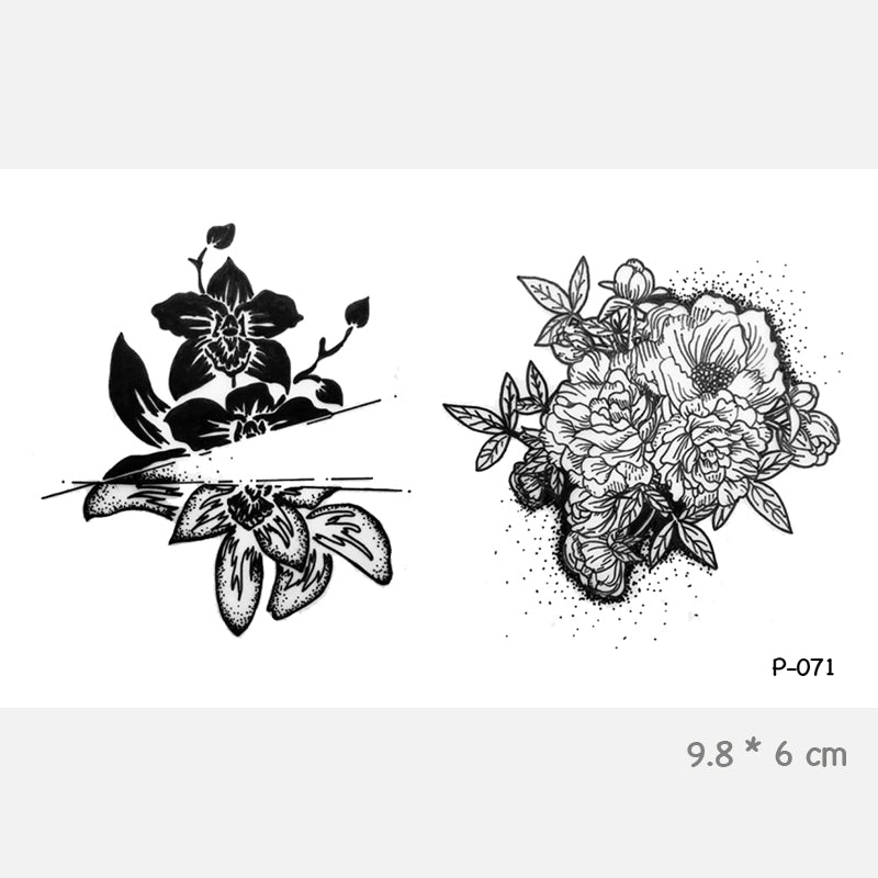 Wyuen Flower Hand Painted Fresh Style Waterproof Temporary Tattoo Stickers for Adults Kids Body Art Fake Women Tatoos P-071