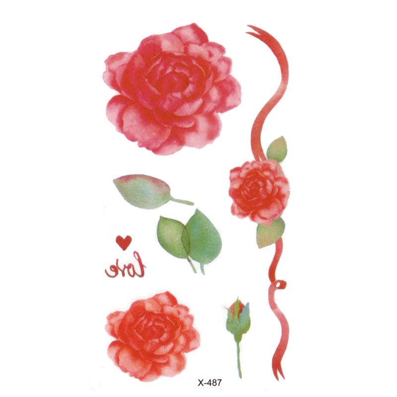 Wyuen Flower Rose Waterproof Temporary Fake Tattoo Sticker for Adults Kids Body Art Women New Design Water Transfer Henna Tatoo