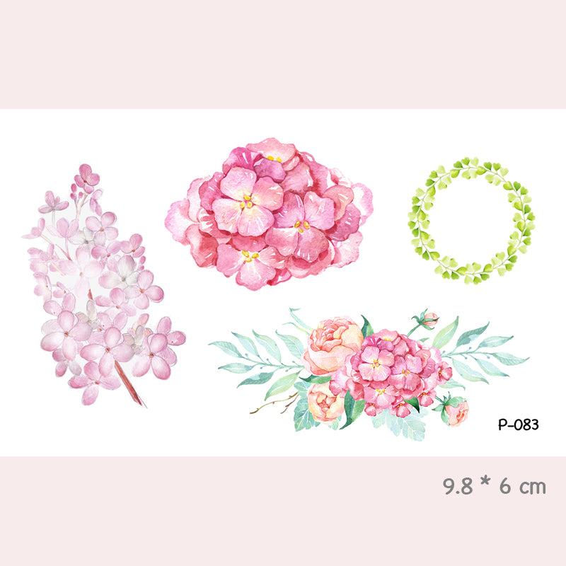 Wyuen Flower Rose Waterproof Temporary Tattoo Sticker for Women Body Art Fake Tattoo 10.5X6cm New Design Tatoo P-029