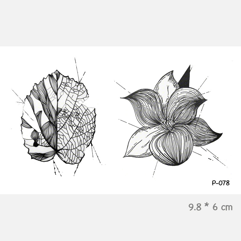 Wyuen Leave Flower Waterproof Temporary Tattoo Stickers for Adults Kids Body Art Fake Tatoo for Women Men Tattoos P-078