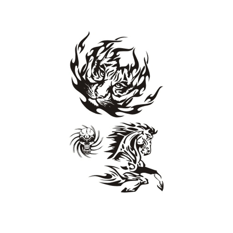 Wyuen NEW Hot Design Temporary Tattoo for Adults Waterproof Tatoo Sticker Body Art Fashion Skull Tiger Horse Fake Tattoo A-021