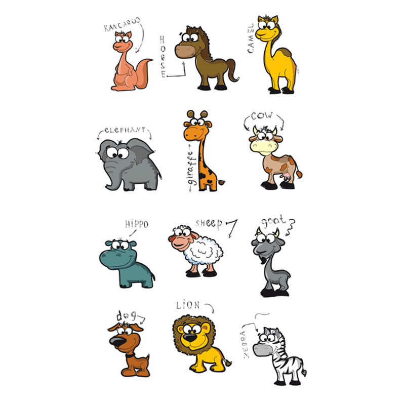 Wyuen NEW Hot Design Temporary Tattoo for Children Waterproof Tatoo Sticker Body Art A Set of Lovely Animals Sheep Lion A-097