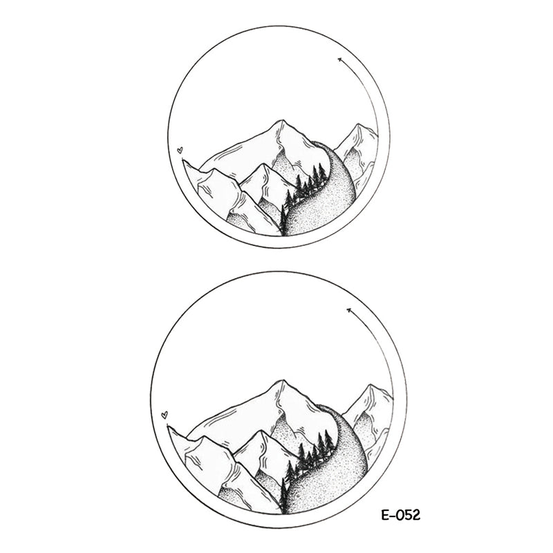 Wyuen New Design Eco Planet mountain Fake Tattoo Waterproof Temporary Arm Tatoo Stickers for Women Men Body Art Tattoos E-052
