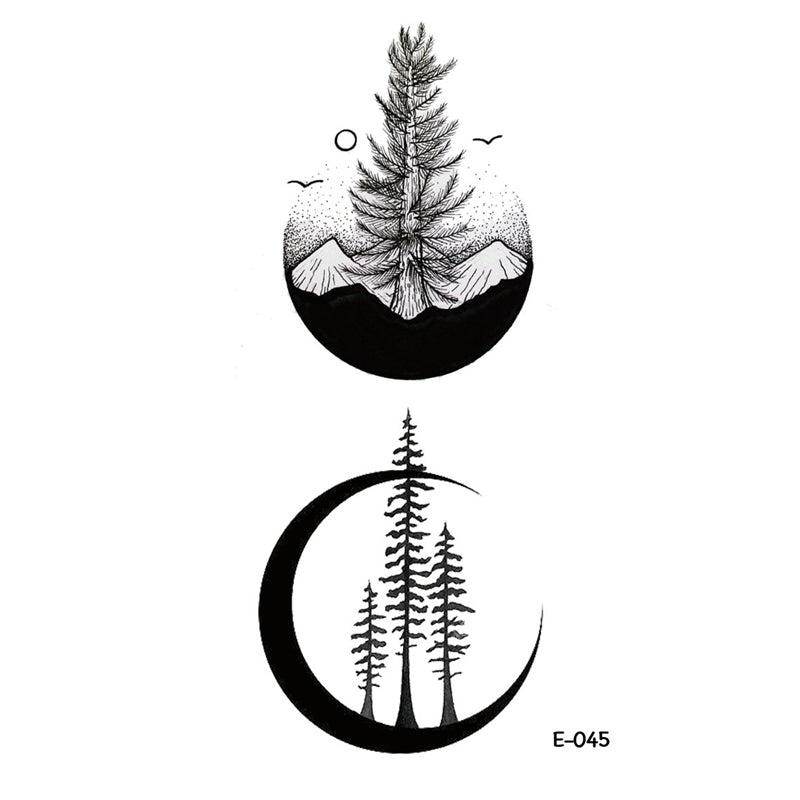 Wyuen New Design Mountain Tree Fake Tattoo Waterproof Temporary Arm Tatoo Stickers for Women Men Body Art Tattoos E-045