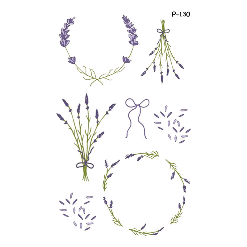 Wyuen New Design Purple Flower Fake Tattoo Waterproof Temporary Arm Tatoo Stickers For Women Men Body Art Tattoos P-130