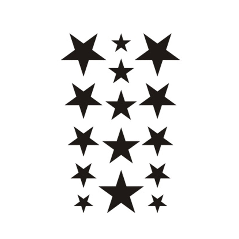 Wyuen New Design Waterproof Temporary Tattoo Sticker for Adults Kids Body Art Five-pointed Stars Fake Tatoo for Man G-014